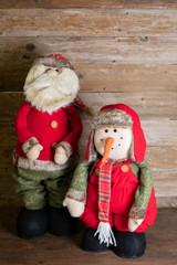 """24"""" Plush Telescoping Rustic Santa/Snowman"""