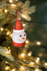 "3"" Light Up Snowman Head Ornament Black Hat Santa Hat"
