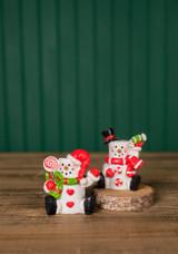 """3"""" Resin Marshmallow Sitting Snowman"""