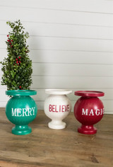 """7.75"""" Green Resin Christmas Words Merry Candle Holder"""