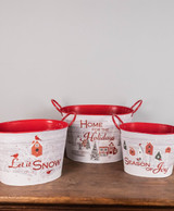 """15"""" Set Of 3 Metal Holiday Scene Buckets with Glitter Accent"""