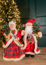 "18"" Buffalo Plaid Santa and Mrs. Claus Figurine"
