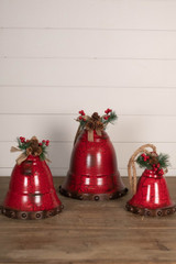 """20"""" Metal Rope Red Holiday Bell - Set of 3"""