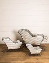 """Galvanized Metal Sleighs - Set of 3 (Largest is 22W"""" x 12.5H"""" x 7""""D)"""