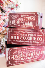 """Wooden Engraved Holiday Design Boxes Set of 3 (Largest is 20""""L x 9""""H)"""