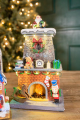 """13"""" H B/O Lighted Musical Santa Coming Out of Chimney"""