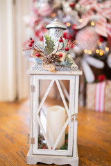 Battery Operated Lighted Holiday Lantern with Led Candle and Floral Accent