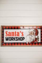 "28"" Wood and Metal Embossed ""Santa's Workshop"" Wall Decor"