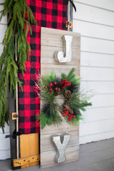 """41"""" H Wood & Metal """"Joy"""" Wall Decor with Holiday Wreath Front Porch Decor"""