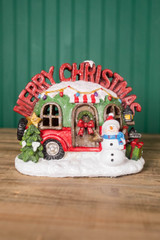 """9.45"""" H B/O Lighted Resin Holiday Camper W/ Music & Timer"""
