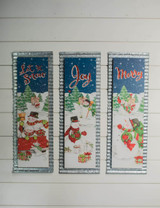 """23.75"""" Wood And Galvanized Holiday Snowman Wall Decor"""