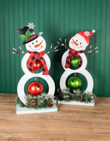 """28"""" Metal Holiday Snowman with Jingle Bell, Scarf and Pine Accent"""