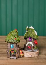 """4.5"""" Mini Resin Light Up Holly Tree House"""