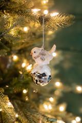 "4"" Resin Snow Bird Silver Bell Ornament"