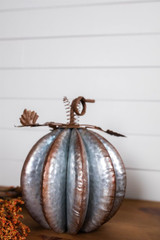"""13"""" Galvanized Metal Pumpkin with Leaves"""