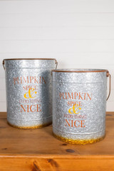 "20"" Nesting Galvanized Metal Pumpkin Spice Buckets - Set of 2"