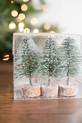 """5"""" Mini Green Bottlebrush Trees - Set of 3"""