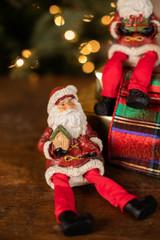 "8"" Resin Jolly Santa with Birdhouse Shelf Sitter"