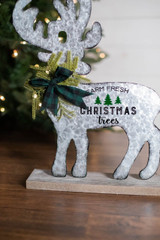 """17"""" H Metal & Wood Holiday Moose W/ Pine & Bow Accents"""