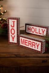 Black and Red Buffalo Check Wood Holiday Signs