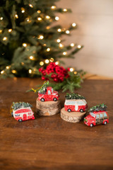 Resin Holiday Vehicle with Tree Ornament