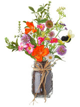 """15"""" Summer Bloom with Bee in Glass Jar"""