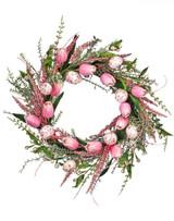 """24"""" Fabric Egg & Tulip Wreath"""