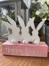 """7.5"""" Resin """"Happy Easter"""" Bunny Sign"""