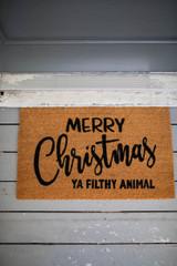 "30"" x 18"" Merry Christmas Ya Filthy Animal Coir Door Mat"