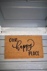 """30""""x 18"""" Our Happy Place Coir Door Mat"""