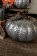 "48"" Lrg Galvanized Metal Wide Pumpkin"