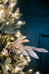 "24"" Glittered Antique Bay Leaf Spray"