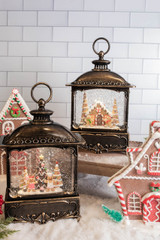 """12"""" Battery Operated Lighted Spinning Water Globe Lantern with Gingerbread Design"""