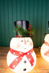 """13"""" Electric Lighted Metal And Frosted Glass Snowman Figure"""