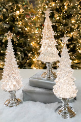 """15"""" Battery Operated Lighted Color Changing Acrylic Spinning Water Globe Tree with Timer"""