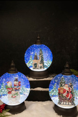 """9"""" Battery Operated Lighted Spinning Water Globe with Holiday Design"""