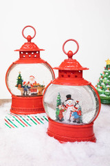 """11.5"""" Battery Operated Lighted Spinning Water Globe with Holiday Design"""