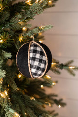 """4"""" Country Check Fabric Ball Ornament"""