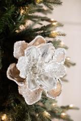 "24"" Metallic Ice Flakes Magnolia Stem"