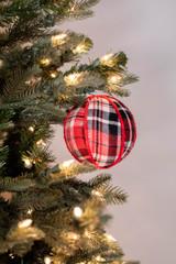 "4"" Fabric Plaid Ball Ornament"
