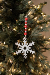 "9"" Wood Bead MDF Snowflake Drop Ornament"