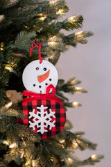 "7"" Buffalo Check Snowflake Snowman Ornament"