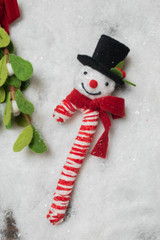 """11"""" Snowman Ice Candy Cane Ornament"""