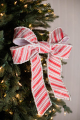 """13"""" Frosty Peppermint Bow Ornament"""