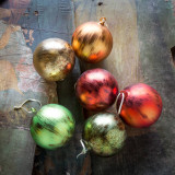 """5"""" Candied Fruit Colored Ornaments - Set of 6"""