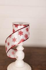"2.5"" x 10 Yard White and Red Glitter Snowflake Ribbon"
