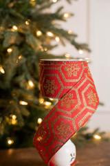 "2.5"" x 10 Yard Geometric Red and Gold Glitter Snowflake Ribbon"