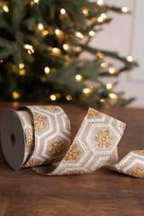 "2.5"" x 10 Yard Geometric Gold Glitter Snowflake Ribbon"