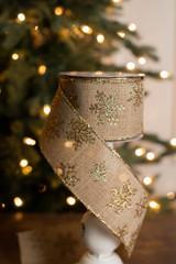 "2.5"" x 10 Yard Gold Glitter Snowflake Ribbon"