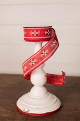 "1.5"" x 10 Yard Christmas Red Crossstitch Ribbon"
